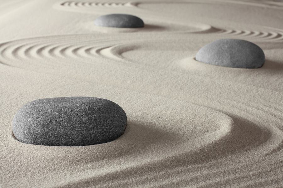 mindful meditation using a zen rock garden