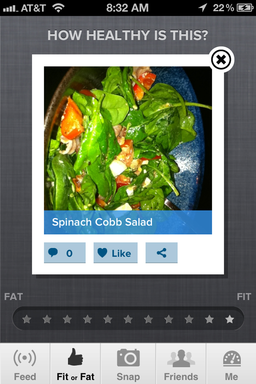 Image of a mobile app for rating food