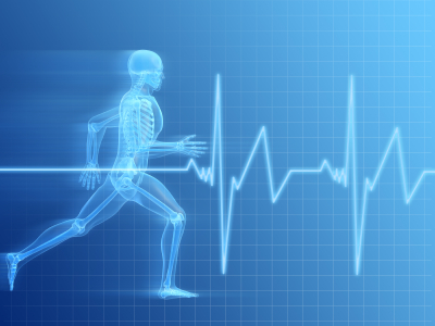 Man running superimposed on an electrocardiogram tracing