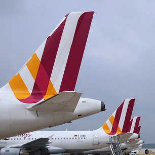 Photo of the tails of several Germanwings planes