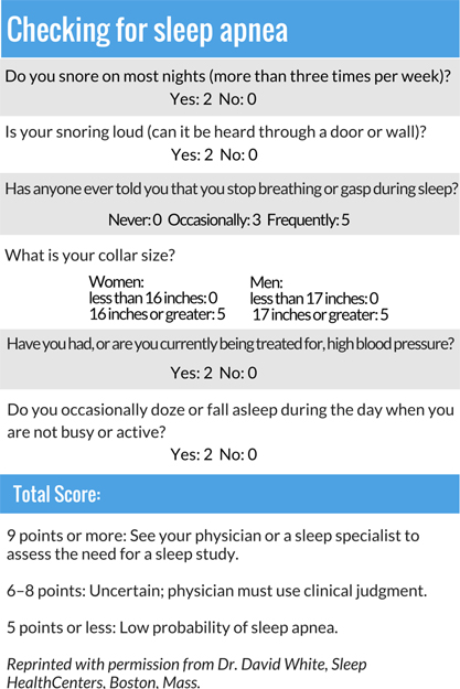 Sleep apnea test table