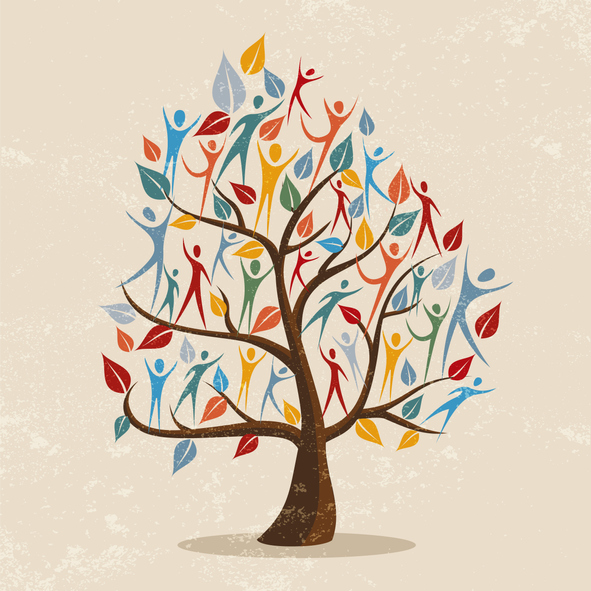 Colorful family tree image