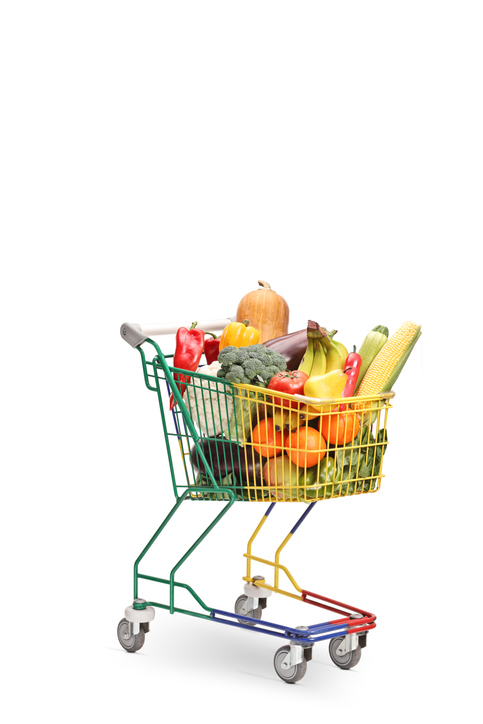 Colorful cart packed with fruit and vegetables