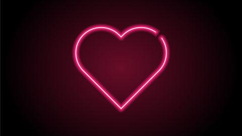 Heart Shape Red Neon Light On Black Wall