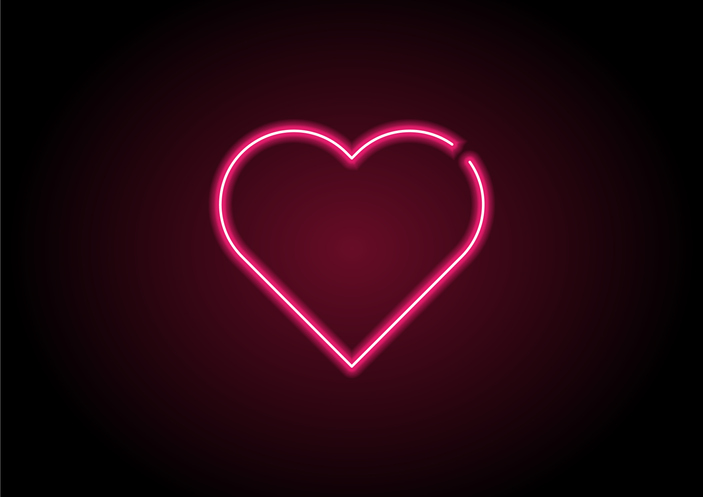 Heart Shape Red Neon Light On Black Wall