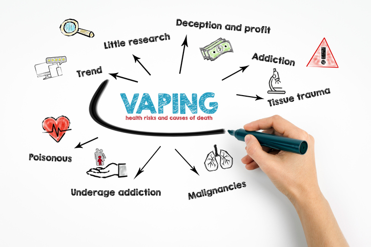 Vaping, health risks and causes of death concept, hand marking key issues on whiteboard