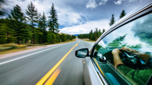 Driver's side of a car traveling down roadway with pine trees on both sides