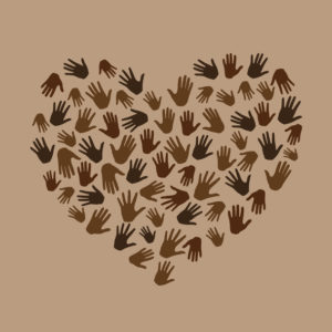 Many brown hands, heart shape, representing community
