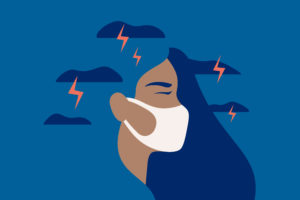 Illustration of teen wearing mask on blue background; lightening from clouds concept is unhappy, upset, moody