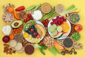 Examples of healthy snack foods--vegetables, fruits, nuts