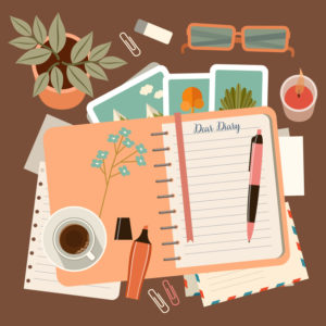 Illustration of desk with diary to record memories, pen, coffee, a plant, glasses, and other personal touches