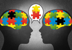 Illustration of puzzle pieces in two brains; concept is two people with different ideas talking and agreeing on some ideas