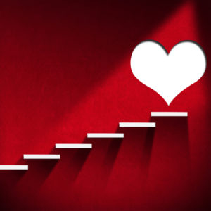 Red wall, white steps, white heart -- concept steps to heart health