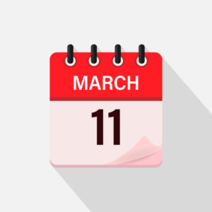 Calendar icon with shadow shows March 11; page starting to turn