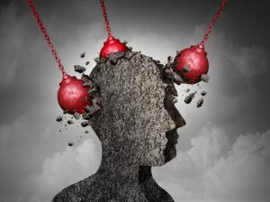 แนวคิดเกี่ยวกับอาการปวดหัวที่เจ็บปวด  ศีรษะของมนุษย์ถูกลูกบอลทำลาย